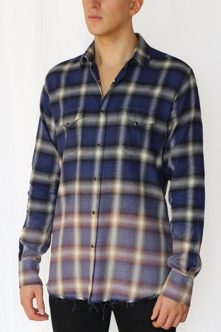 Commun des Mortels bleach distressed shadow plaid western shirt - klein blue/violet