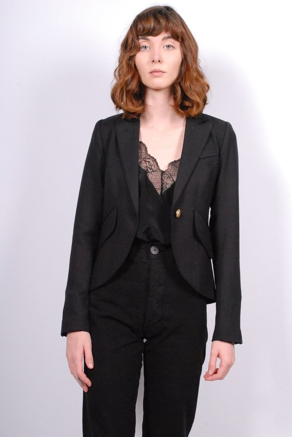 Smythe One Button Blazer - Black with Floral Lining