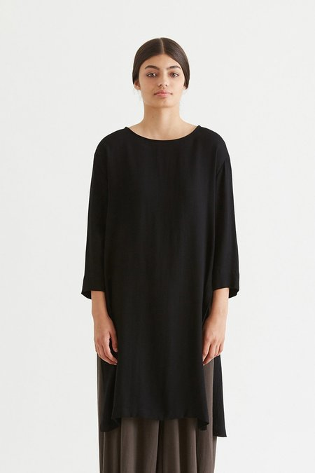 Black Crane Wool Long Top - Black