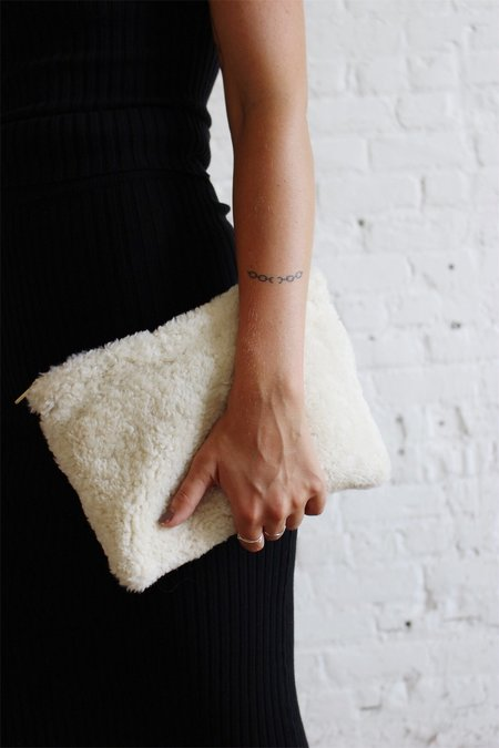 Laura Schoorl Large Natural Shearling Sheep Clutch