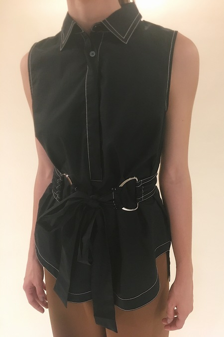 derek lam 10 crosby Sleeveless Tie Waist D-Ring Shirt
