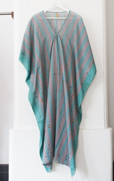 Two Teal and Grey Stripe Caftan