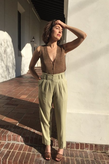 Vintage Deadstock Sage Silk Trousers