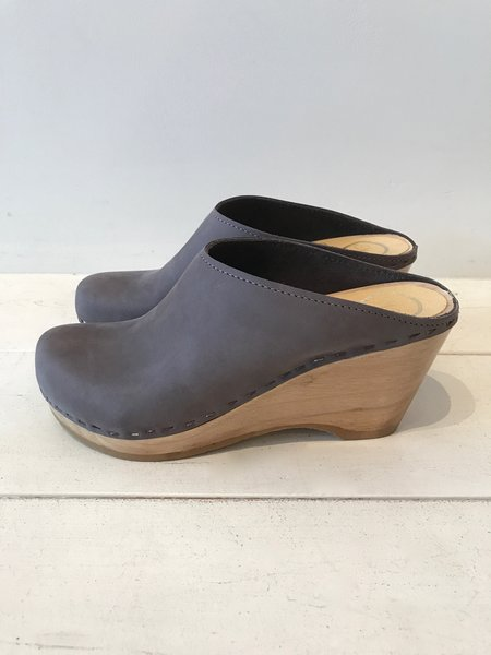 No.6 New School Clog on Wedge in Smoke Suede