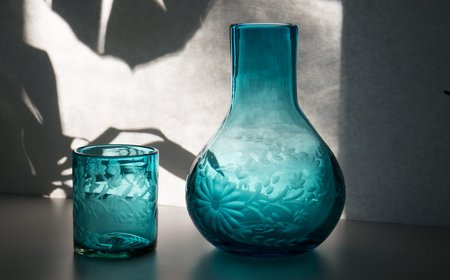 Rose Ann Hall Designs Etched Mexican Bureau Pitcher with Glass - Aqua