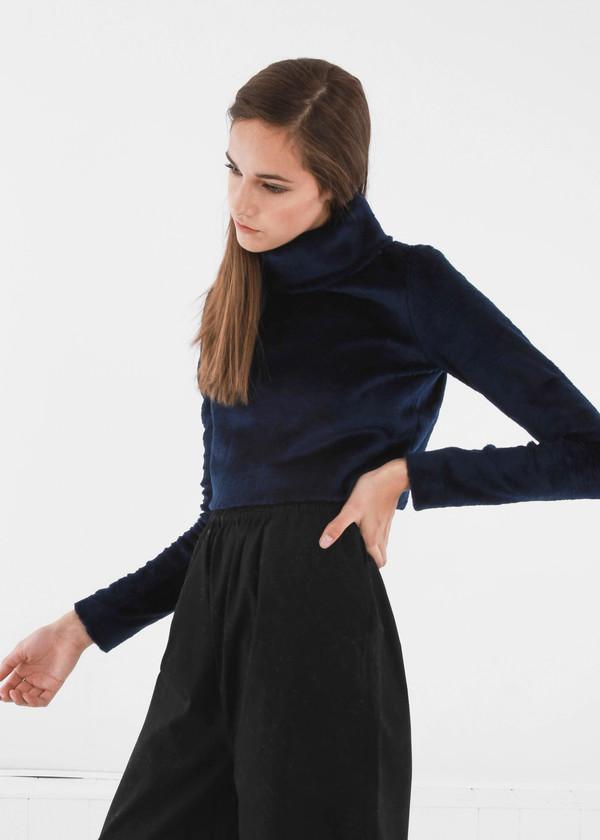 Carleen Navy Funnel Neck Sweater