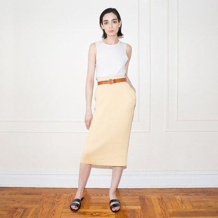 Hesperios Lou Bel Straw Yellow Ribbed Pencil Skirt