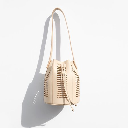 Modern Weaving Neutral Mini Oval Die Cut Bucket Bag