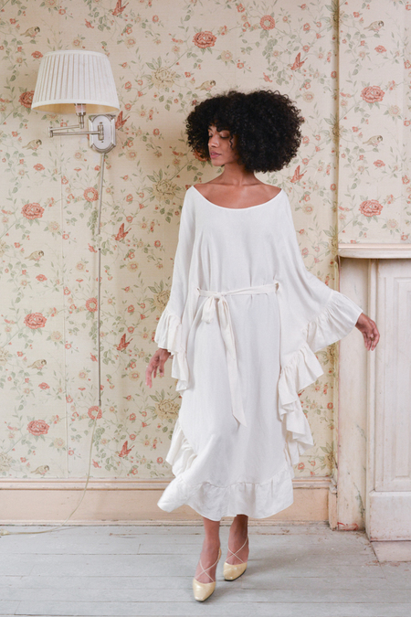 Aurora Vestita Camellia Washed Silk Linen Dress