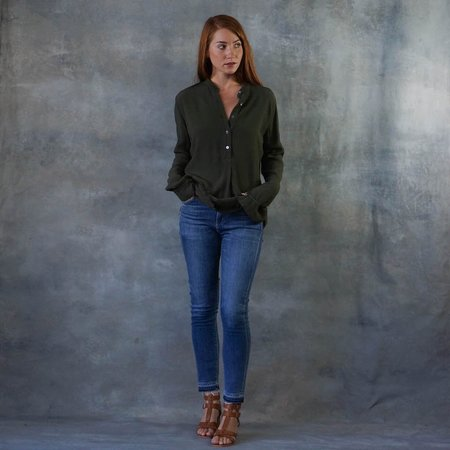 Raquel Allegra Olive Henley Top with Raw Edges