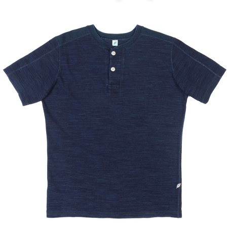 Pure Blue Japan PBJ Short Sleeve Henley - Indigo