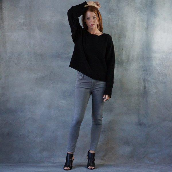 Line The Label Luna Ruffle Cashmere Sweater Crew Neck