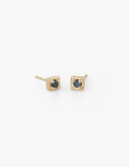 Dream Collective Tiny Square Studs in Blue Sapphire