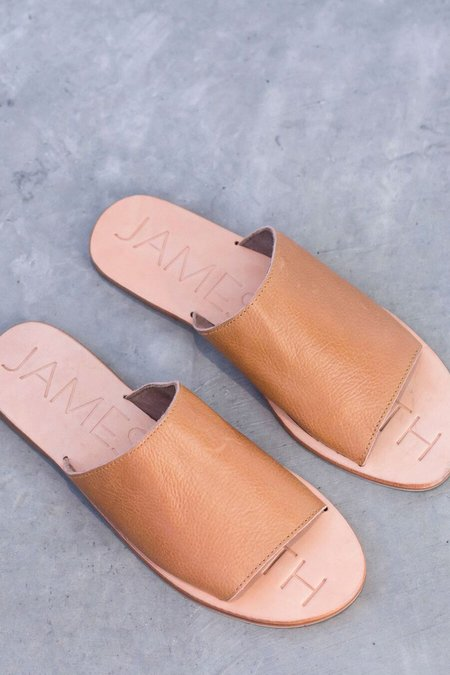 James Smith Leather Pool Slide - Tan