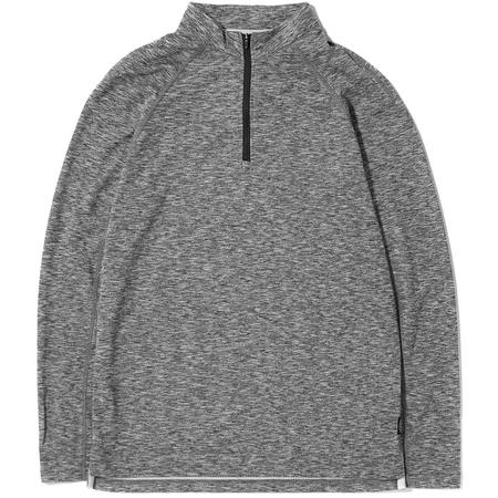 Reigning Champ Half Zip Honeycomb Trail Shirt - Heather Black