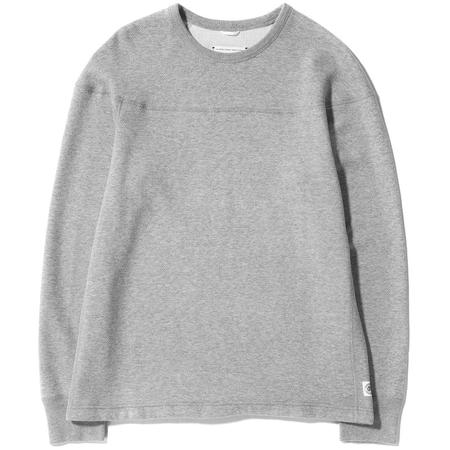 Reigning Champ Long Sleeve Panel Mesh Double Knit Crewneck - Heather Grey