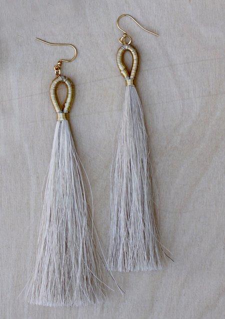 Faye Kendall Horse Hair Long Tassel Earrings - Natural
