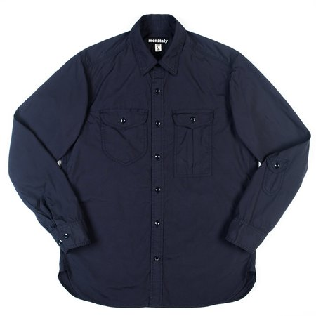 Monitaly Triple Needle Shirt - Navy Poplin Vancloth