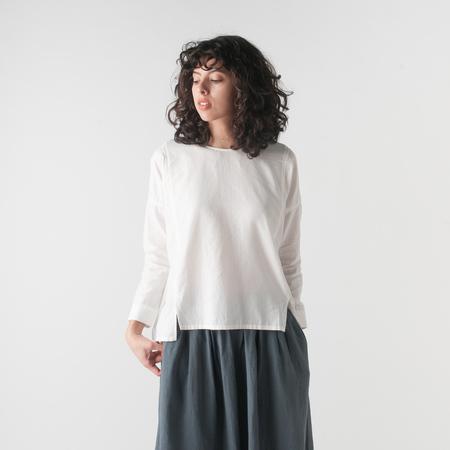 EVAM EVA Cotton Cashmere Square Pullover in Off White