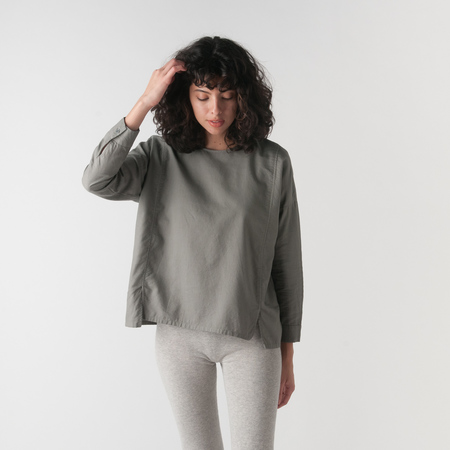 EVAM EVA Cotton Cashmere Square Pullover in Otter Grey