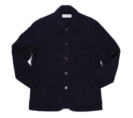 Universal Works Bakers Jacket Long - Navy Mowbray