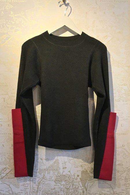 Joseph Merino Waffle Sweater with Contrast Elbow Cuff