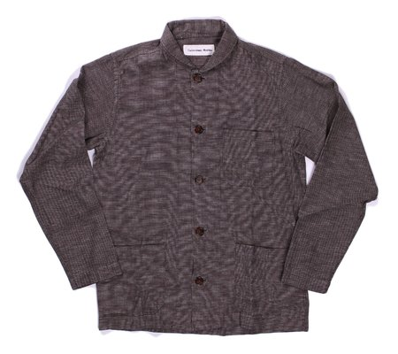 Universal Works Shawl Collar Overshirt - Brown Seal Cotton