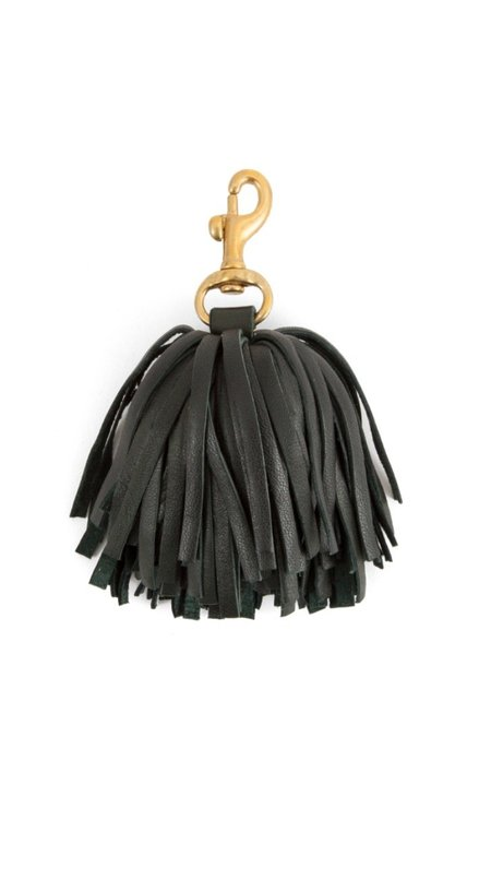 Clare V. Pom-Pom Tassel - Black Nappa