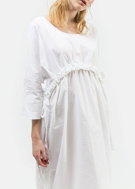 Open Air Museum Elspeth Gathered Dress - White