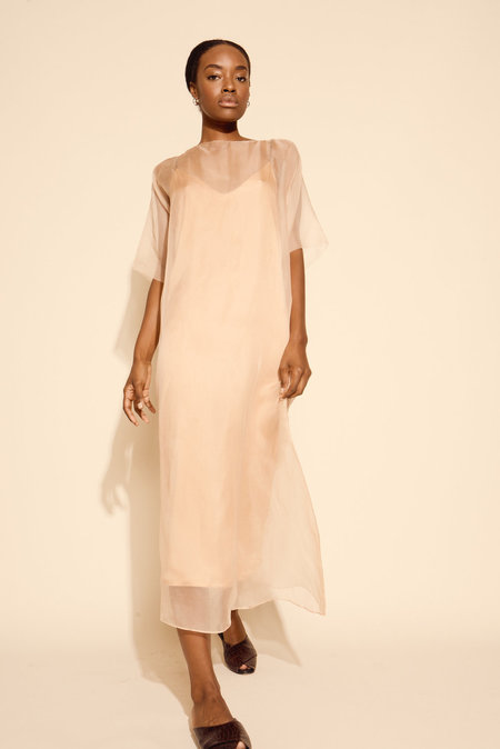 Kamperett Air Silk Organza Sheath Dress - Blush