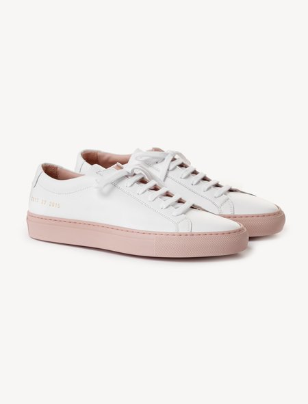 Woman by Common Projects Achilles - Low Coloured Sole White/Blush
