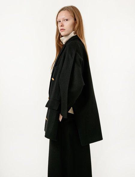 Ys by Yohji Yamamoto Womens Black Peaked Collar Jacket