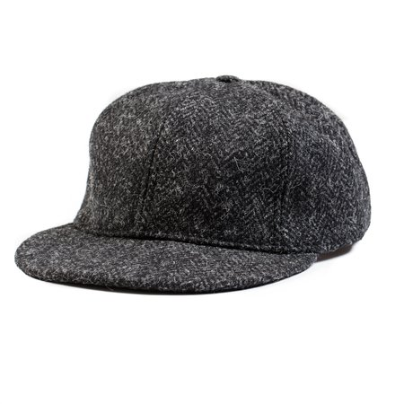 Monitaly 6-Panel Cap - Black Harris Tweed