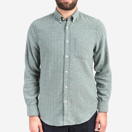Portuguese Flannel Espiga Flannel Shirt - Green Herringbone