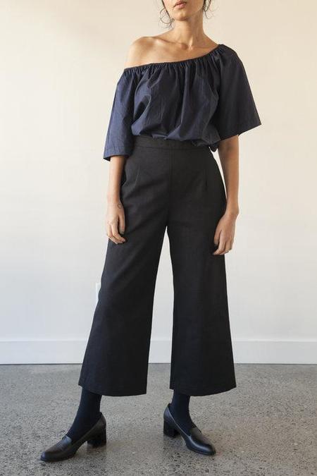 Sunja Link Cotton Canvas Pants - Black
