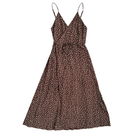 Ali Golden Tank Wrap Dress - Brown Dot