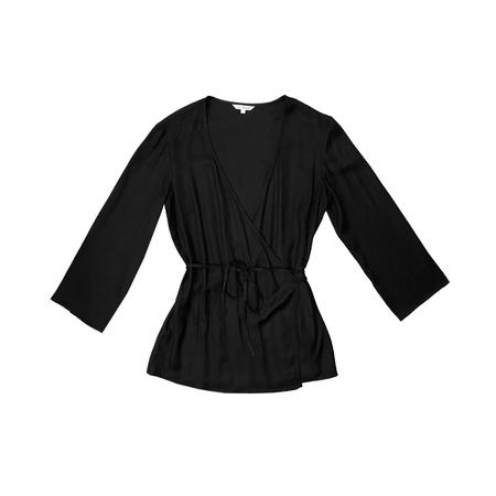 Ali Golden Long Sleeve Wrap Top - Black