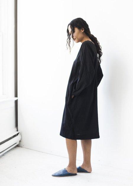 Uzi NYC Long Sleeve V-Dress in Black