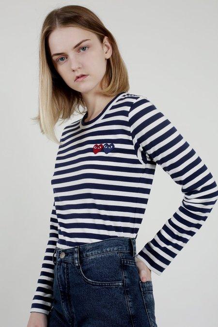 Comme des Garçons Play Navy/White Stripe Double Heart Tee