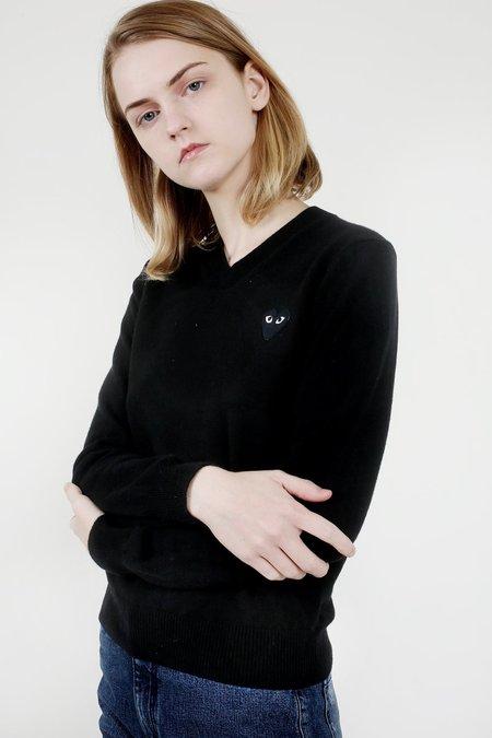 Comme des Garçons Play Black V-Neck Sweater, Black Heart