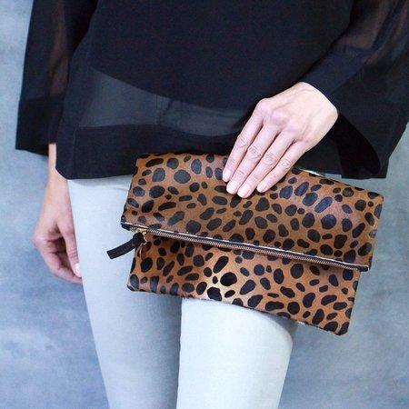 Clare Vivier Leopard Hair-On Foldover Clutch
