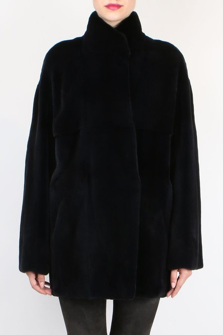 32 Paradis Plucked Mink Coat - CHARCOAL
