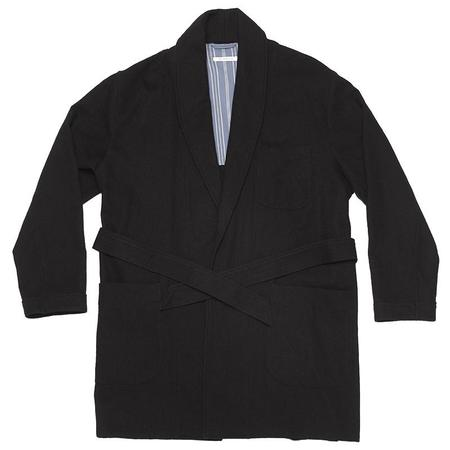 s.k. manor hill Smoking Robe -  Black Cotton/Wool