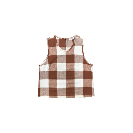 Ali Golden Silk Crewneck Tank - Chestnut Plaid