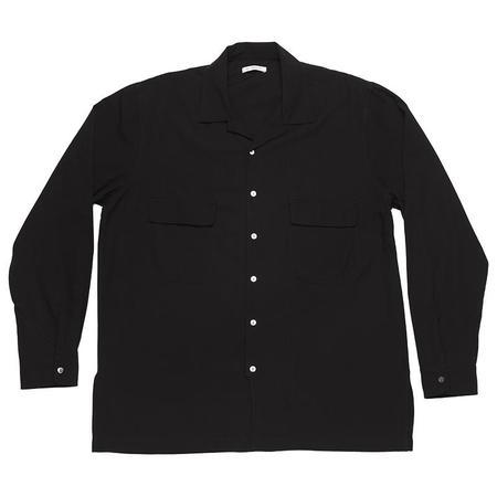 s.k. manor hill Earl Shirt - Black Tencel/Cotton/Wool