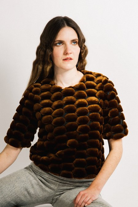 Beth Salon Top - Dot Faux Fur