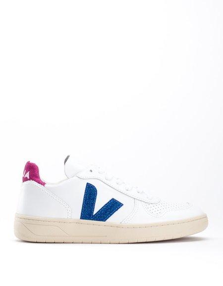 Veja V-10 Leather Sneaker Extra White Neon Magenta Glitter