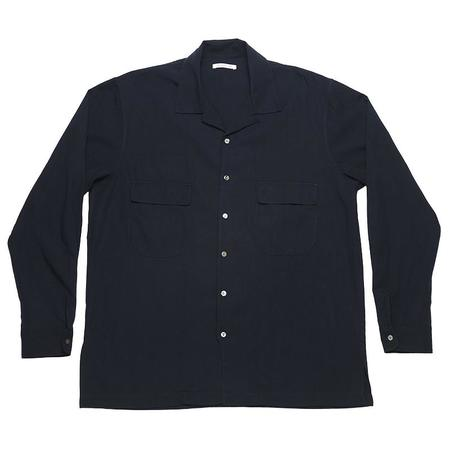 s.k. manor hill Earl Shirt - Navy Tencel/Cotton/Wool