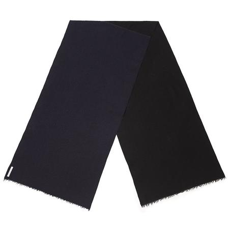 S.K. Manor Hill Two-Tone Patch Wool Cotton Scarf - Black/Navy