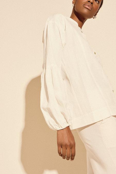 Kamperett Ferou Silk Linen Top in White